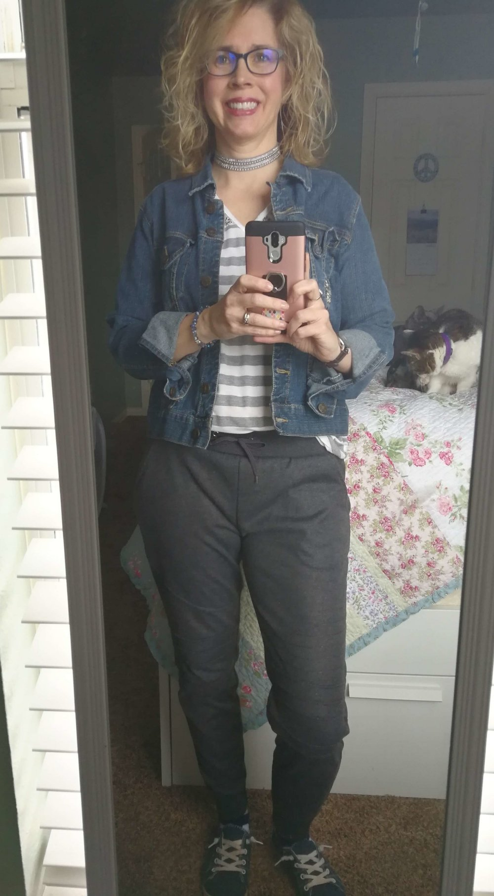 Credit: Lauren in  Frumpy Fighters   Joggers + Striped Tee + Jean Jacket + Sneakers