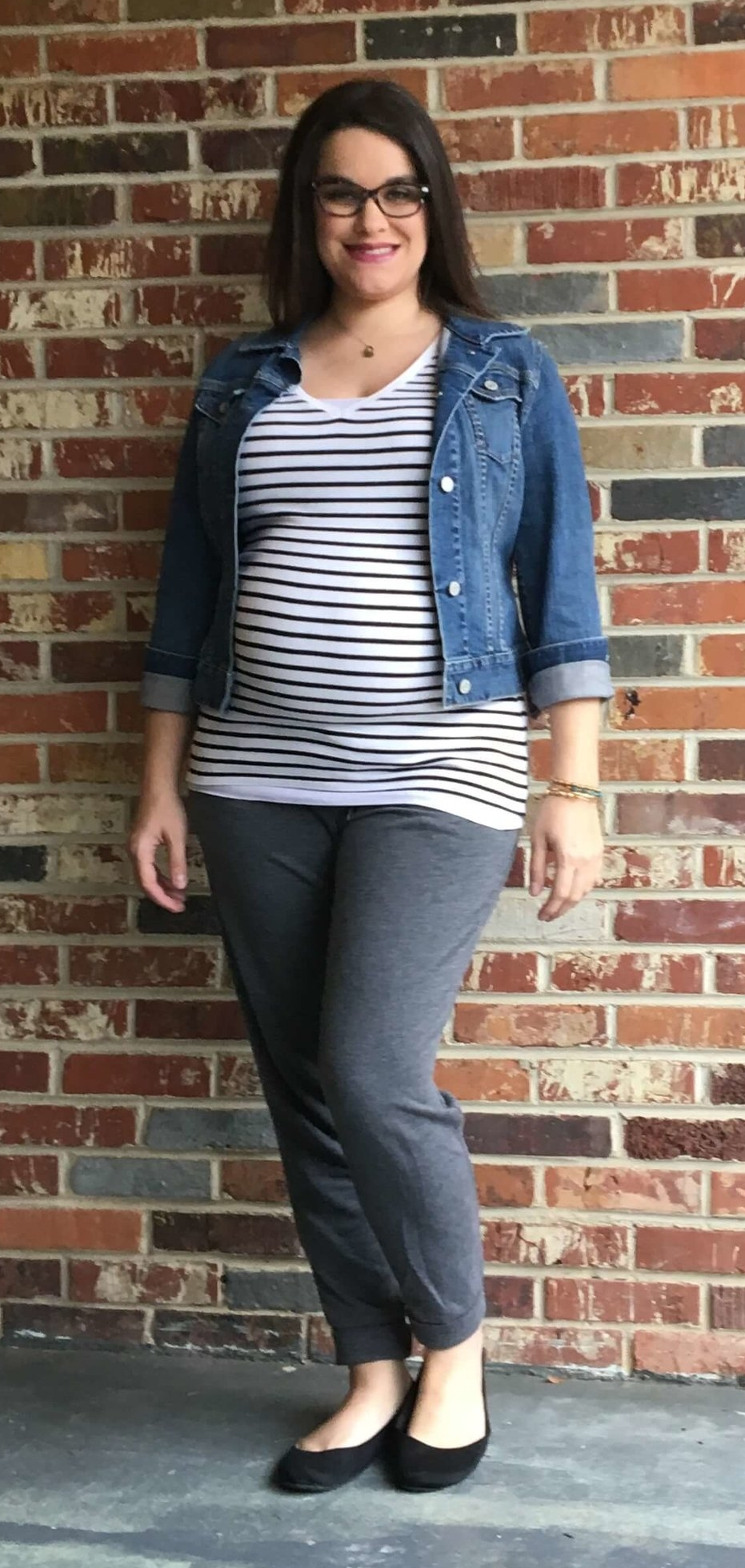 Joggers + Striped Tee + Jean Jacket + Flats