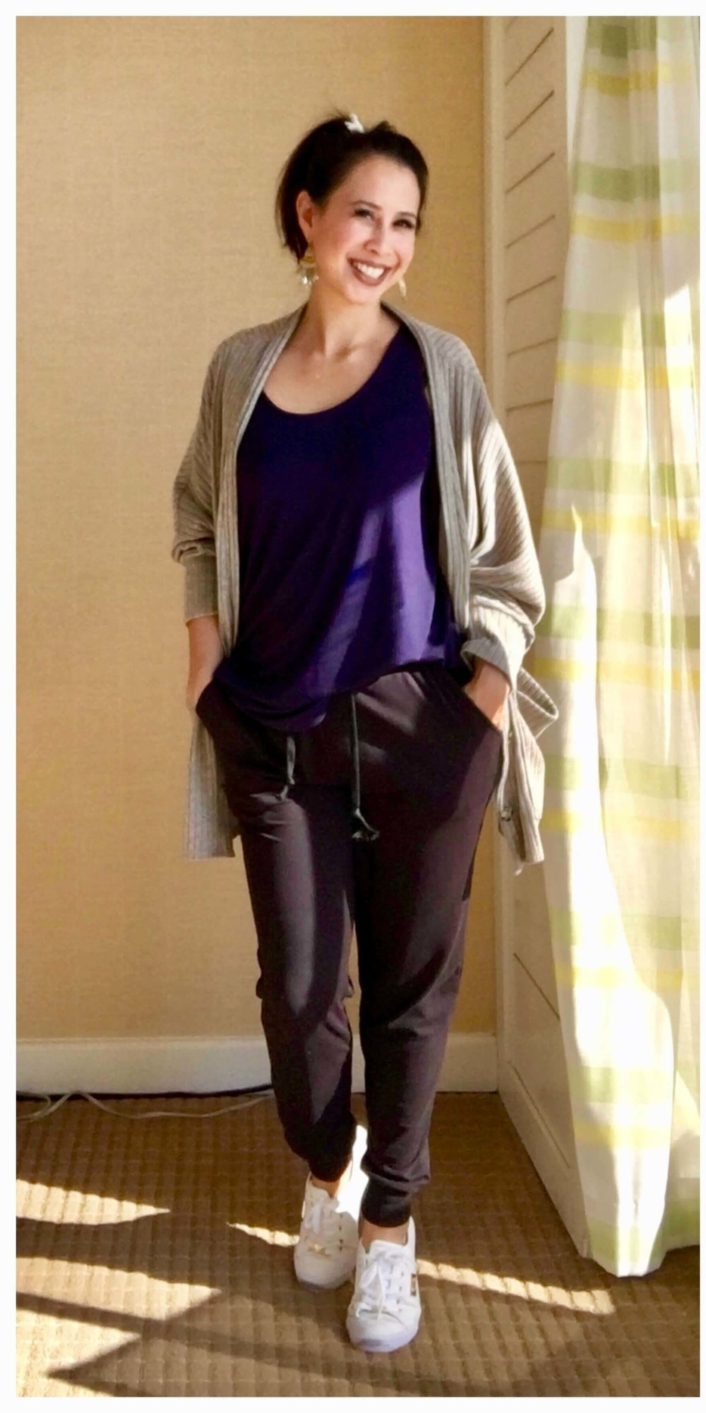 Credit: Rochelle in  Frumpy Fighters   Joggers + Color Tank + Cardigan + Sneakers + Statement Earrings  Check out Rochelle's website  here !