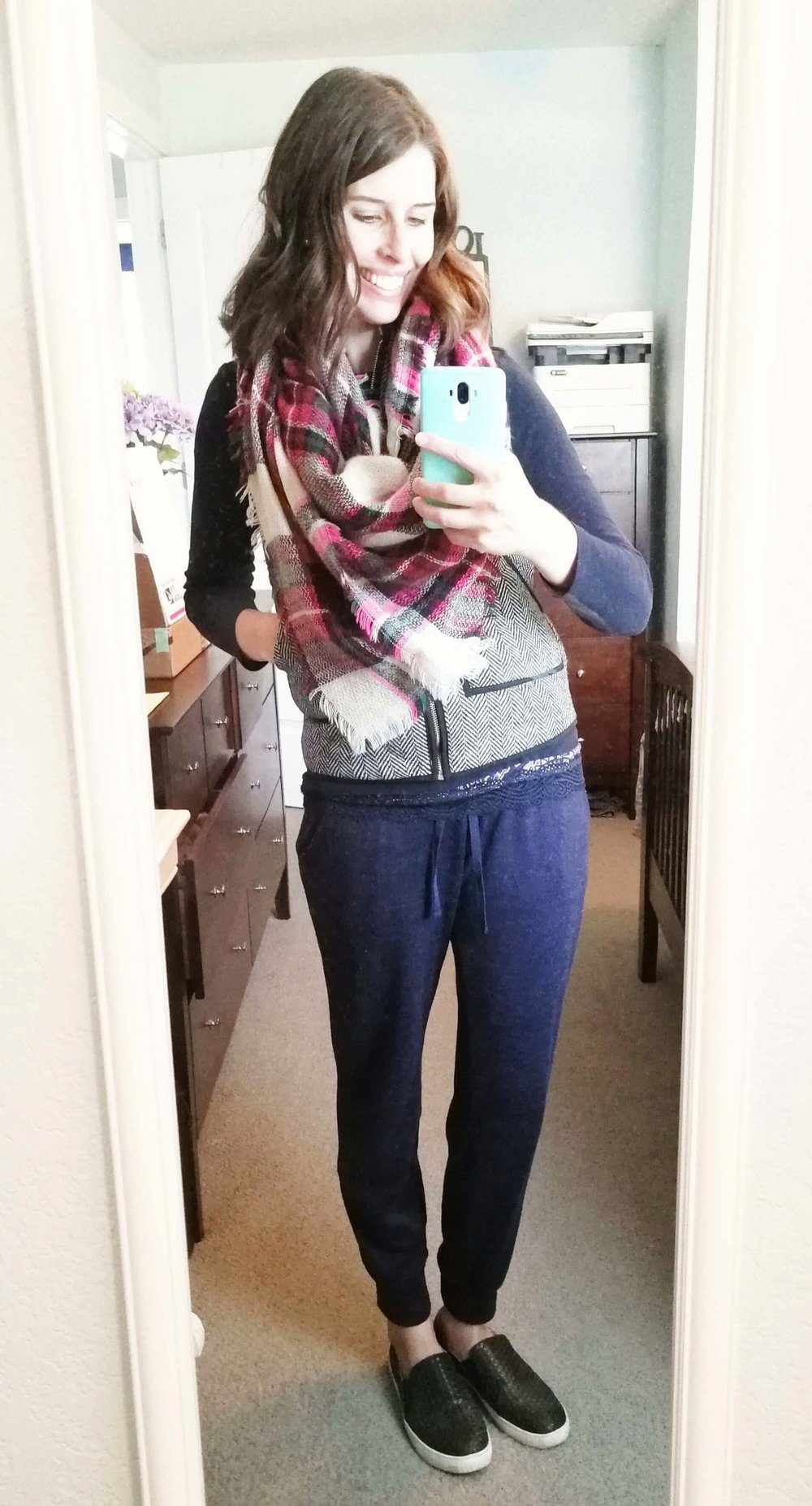 Joggers + Long Sleeve Navy Tee + Quilted Vest + Blanket Scarf + Slip Ons