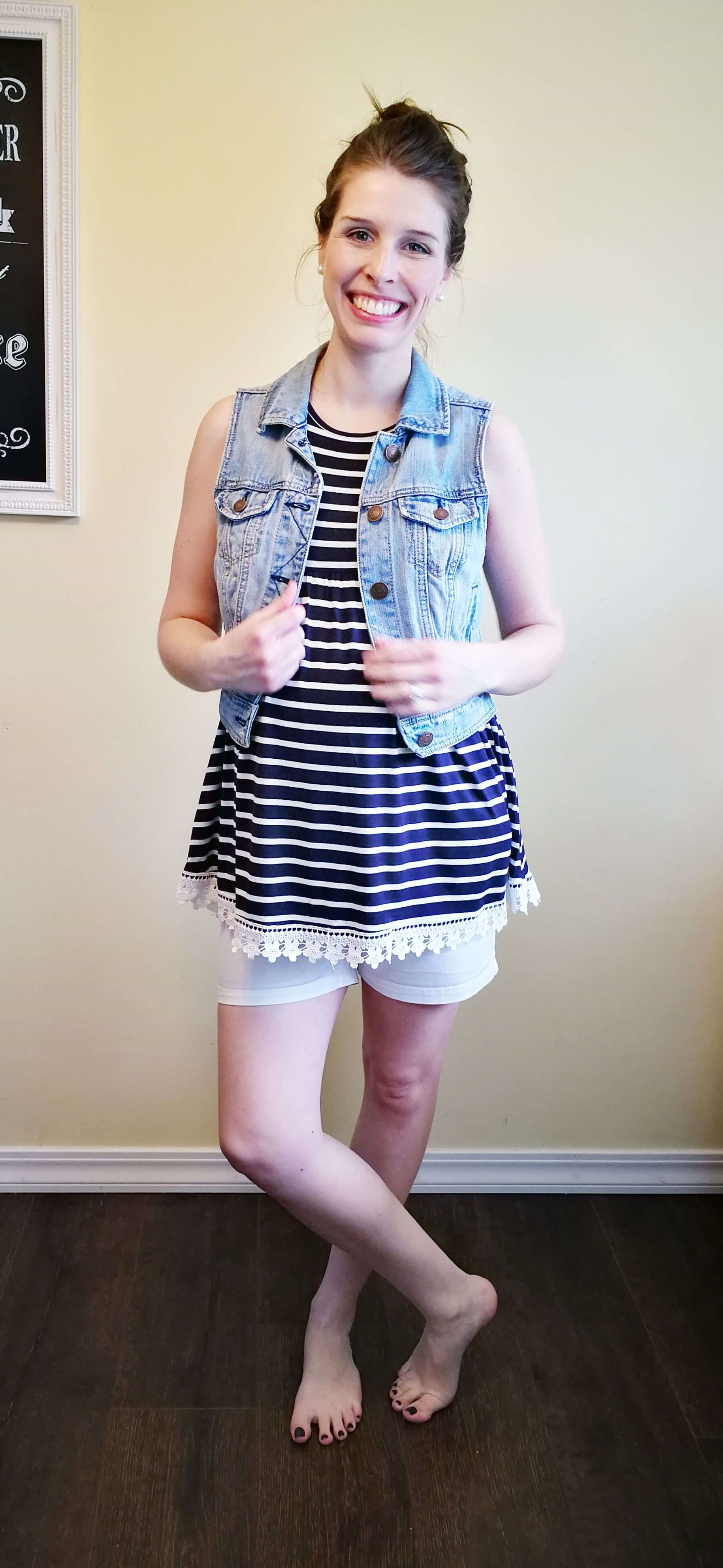 A navy blue and white striped shirt is so versatile! Here are 4 casual but chic ways to wear a striped #maternity tank top any time of the year... shows what to wear at home and how to change it to go on errands for total of 8 maternity outfits. So cute with the crochet trim! This blog has so many easy outfit ideas for busy moms. #mom #fashion #outfits #tips #ideas #easy #clothes #style #fall #winter #spring #summer #momlife #pregnancy #clothes #style