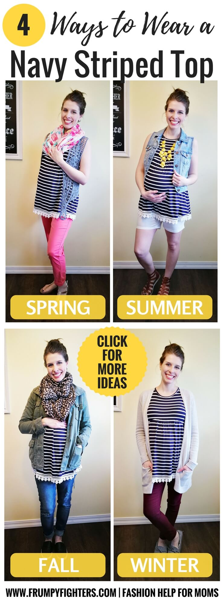 ced781043a2 A navy blue and white striped shirt is so versatile! Here are 4 casual but.  More outfit ideas for moms