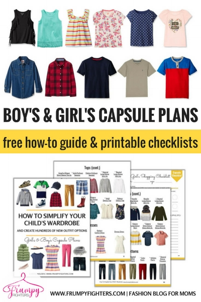 This is THE BEST kid's capsule wardrobe plan because it's simple and classic and all the examples pieces are on Amazon.com! The free #printable PDF includes an example list of the essential clothes in the capsule, a color palette template, and a shopping planner checklist (with links to products on Amazon).  Perfect for little toddlers, school age children, and even tweens! (The PDF has both a girl's and boy's capsules) #backtoschool#children#kids#capsulewardrobe#fashion#freeprintable#organization