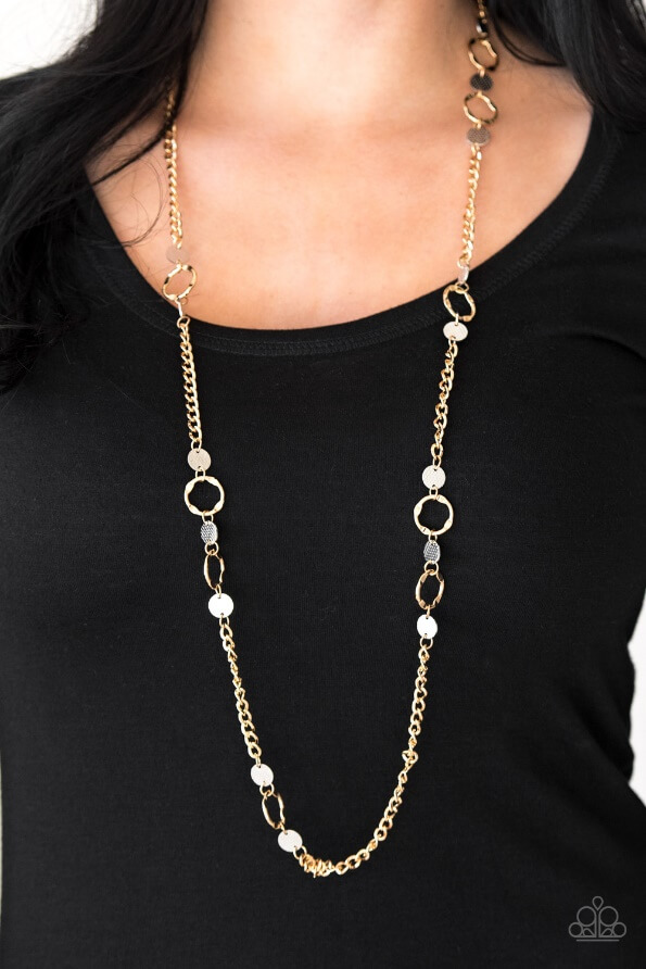 Necklace shown: Paparazzi – Stylishly Steampunk in Gold