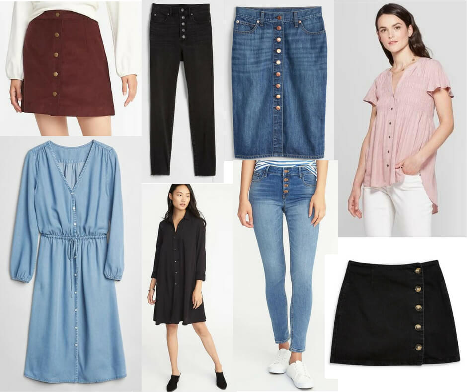 51d17ca85fa8 Buttons are not just for tailored blouses this season. Pants, dresses,  skirts and tops are all sporting buttons. This trend is so great for basic  pieces ...