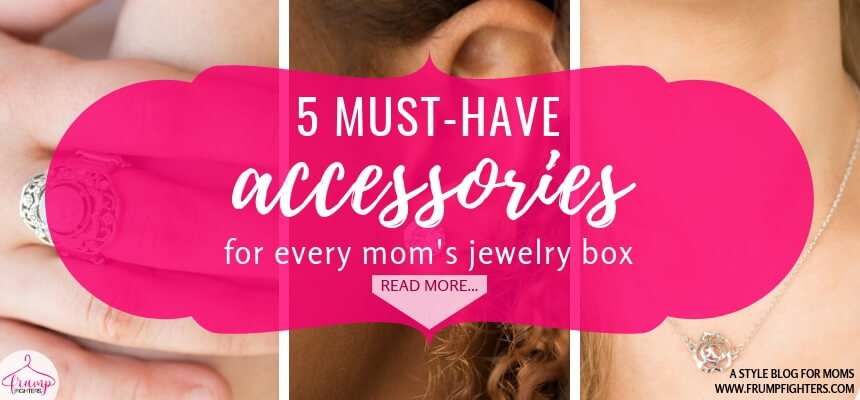 Now that I'm a stay-at-home mom I struggle with remembering those finishing touches to my outfit, like jewelry! Simple is the best when it comes to wearing jewelry with kids hanging off of you so I love this list of 5 staple jewelry pieces to have on hand! I can dress them up or down as much as I want to and still they are timeless and classic. Check out this blog post on must-have, mom-friendly jewelry! #tips #fashion #mom #ideas #style #tricks #momlife #outfits #easy #clothes #howto #jewelry #accessories