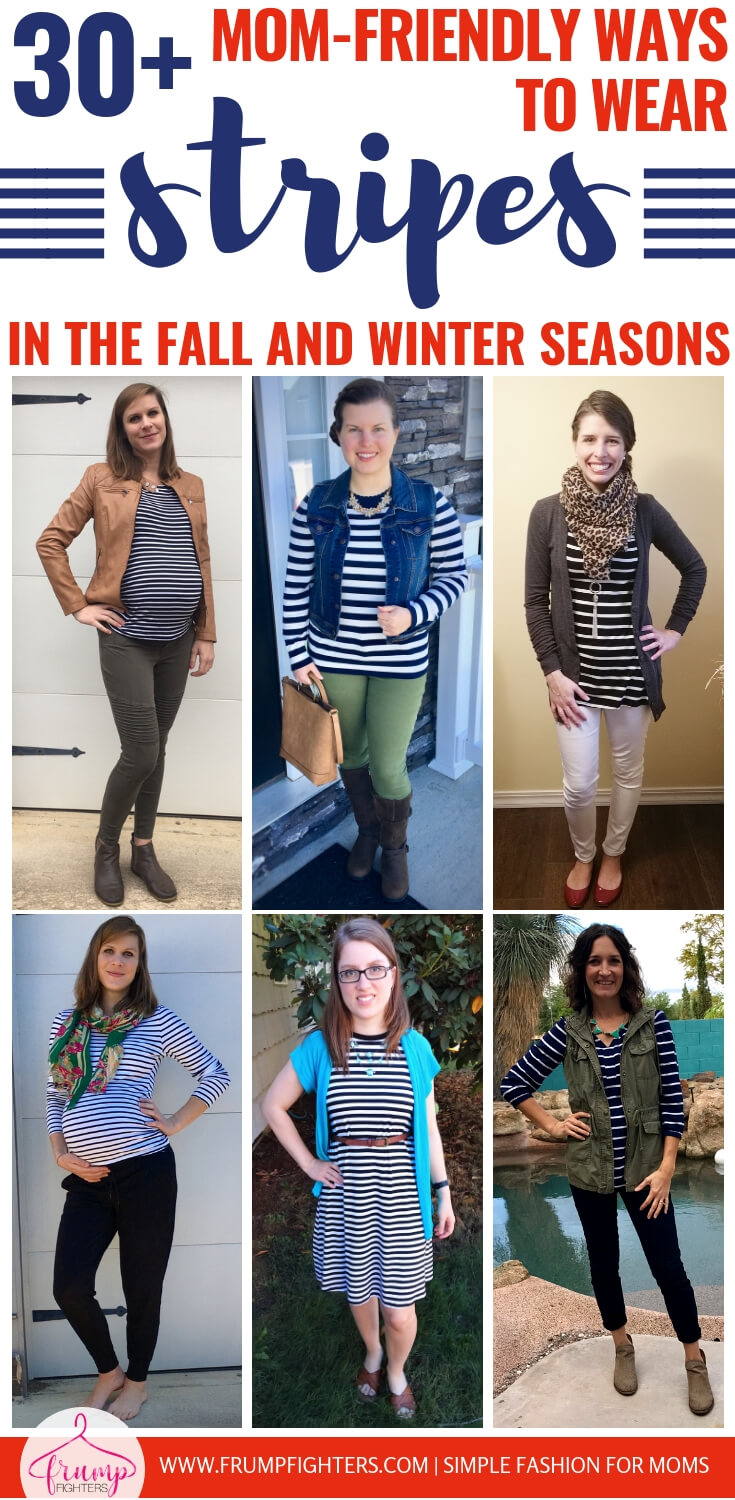 Stripes are a classic and trendy pattern that you will find on clothing everywhere. This is a comprehensive list of how to wear stripes, modeled by moms of all shapes and sizes! From basic striped outfit ideas to how to pattern mix with stripes, you'll find tons of ideas for chic, mom-friendly, (and even maternity!), outfits here! #tips #fashion #mom #ideas #style #tricks #momlife #stripes #clothes #howto