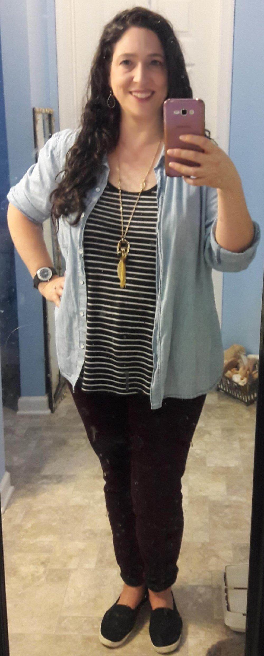 stripe tank chambray shirt burgundy jeans - Laurie Liss (1).jpg