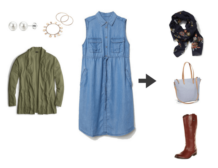 fd34345d4e7da Preview of Outfit 7a  chambray dress + color cardigan + pattern scarf +  riding boots