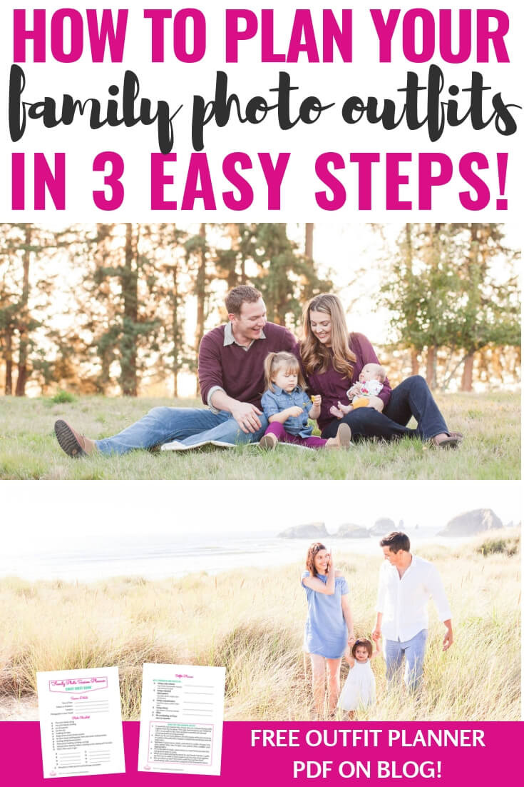 Coordinating for family photos can be a daunting task. Whether you have babies or older kids, this blog post has all the ideas you need for dressing for your family pictures. Come spring, summer, fall or winter, the awesome FREE printable will walk you step-by-step through color schemes, photo shoot themes, and, most importantly, what to wear! Look chic and put together by coordinating your outfits for a seamless, beautiful family photo! #family #photos #fashion #momlife #whattowear #memories #pictures