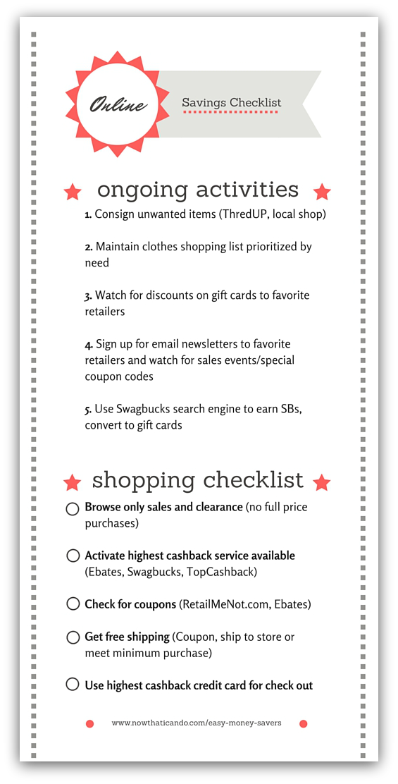 Checklist for styling on a budget! How to save money on clothes online. This blogger gives tips and tricks for how to save money on clothes shopping online. Learn how using the steps all together can save you the most! Use the checklist for a while until they become second nature. Online may become your new favorite way to shop! // Mom tips and tricks // Mama fashion // Style // Online Stores // Deals // Budget // Strategies // Discounts // Free PDF Printable Checklist