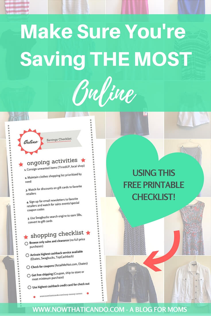 5 steps to saving the most money on every order online and easy 5 steps to saving the most money on every order online and easy ways to earn money for clothes free printable checklist pdf now that i can do mama fandeluxe Gallery