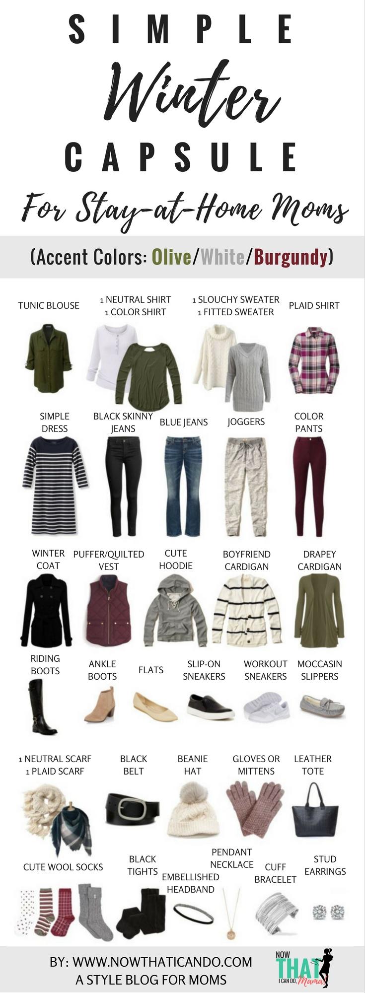 Basic Winter Capsule 2016 for stay at home moms- olive, white, burgundy.jpg