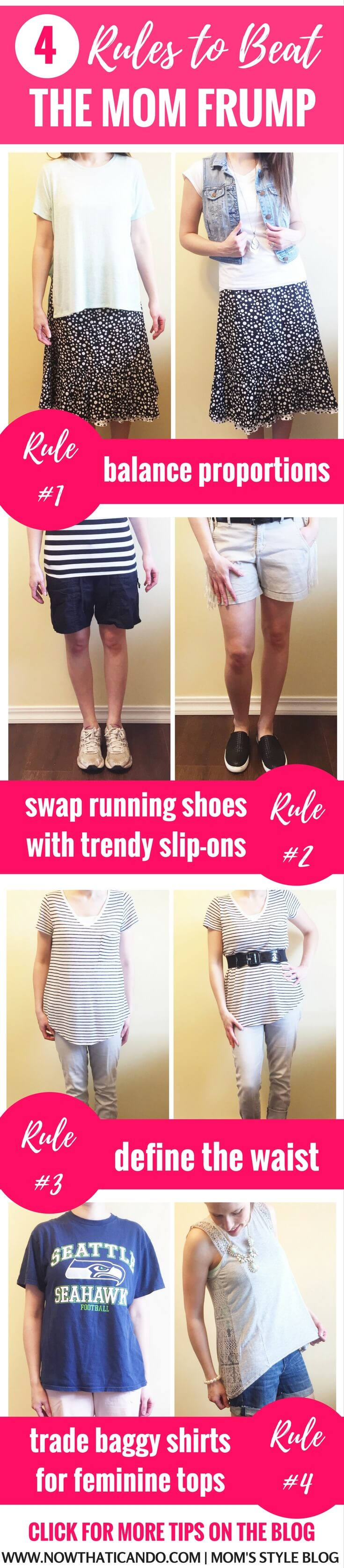 How to not look frumpy in your clothes. Tips for dressing like a cute mom in the spring and summer.