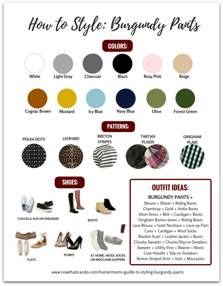 What tops, patterns, colors, and shoes to wear with burgundy or maroon pants.