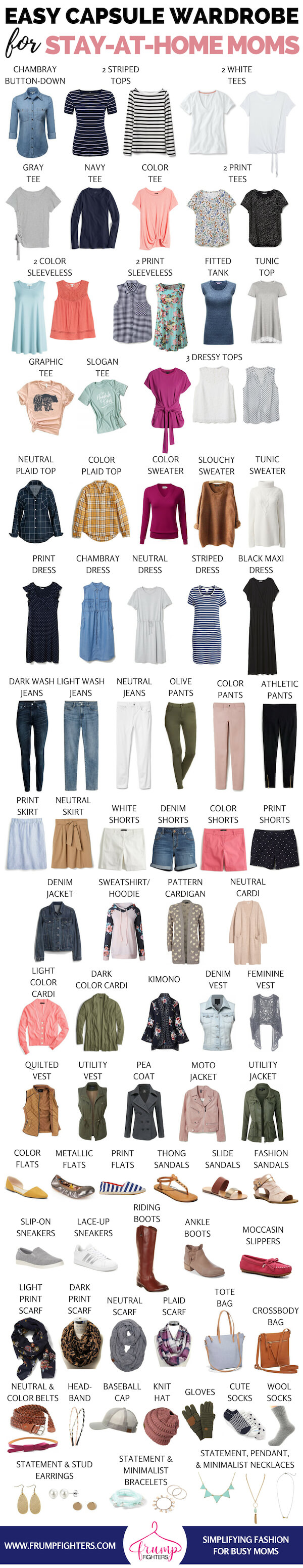 Free guide on how to build a #sahm #capsule wardrobe! The best clothes for on-the-go mom-friendly #style. The #free #printable checklist includes a wardrobe plan, step by step on how to put together a capsule, shopping checklist, & outfits. List of #mom #wardrobe essentials for a #fall capsule #wardrobe that transitions to #winter, #spring & #summer seamlessly! Love this casual but stylish capsule for stay at home moms, #homeschool, & work at home moms! #outfits#backtoschool