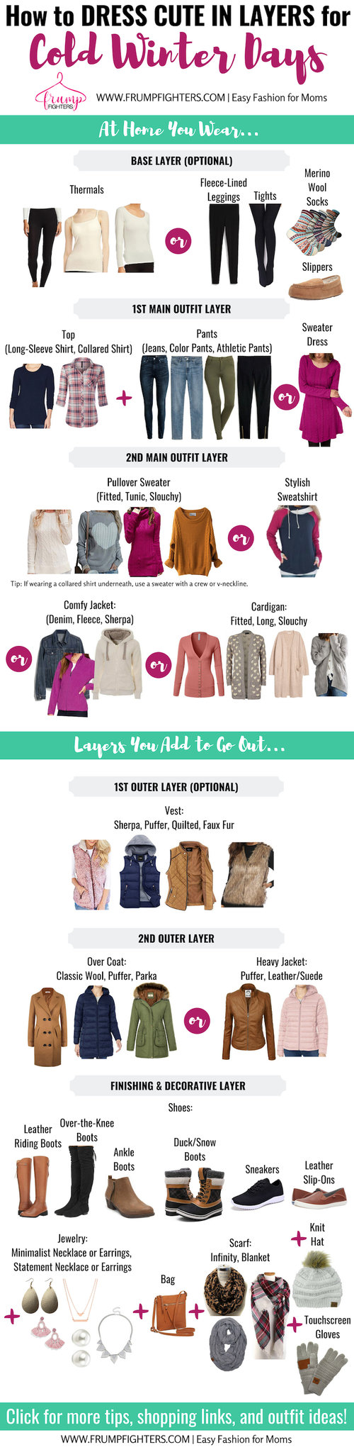 This chart is incredible! It shows you all the simple comfy ways to layer clothes for winter including sweaters, jeans, shoes, leggings, dresses. Warm winter outfits clearly don't need to be frumpy! This shows me how to layer clothes for cold weather to create cozy but cute outfits on a budget. Click through to the blog post too… it has a list of winter wardrobe essentials and outfit ideas with pictures! #winteroutfits #howtowear #cozy #momstyle