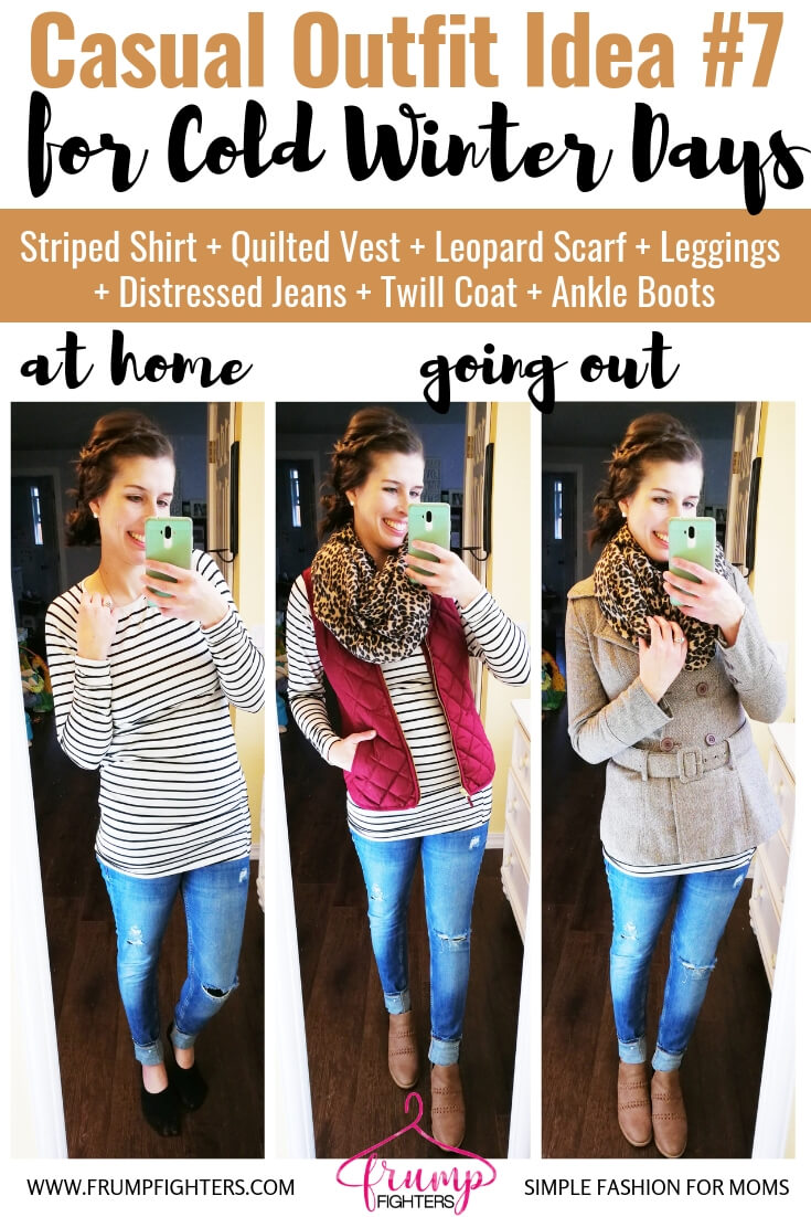 How to dress cute in layers, warm and stylish in winter- Casual Chic Outfit, Striped Shirt + Vest + Leopard Scarf + Leggings + Jeans + Twill Coat + Ankle Boots