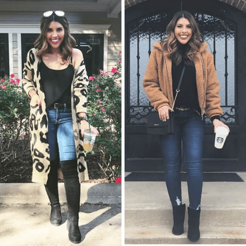 Cute, cold weather outfits from a mom blogger. Skinny Jeans + Sweater + Booties + Bomber Jacket + Crossbody Purse
