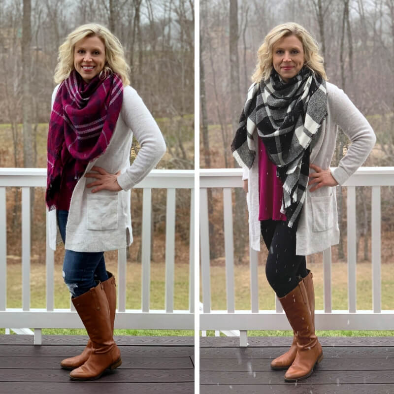 Warm winter outfit ideas for stay-at-home moms. Jeans or Leggings paired with a boyfriend sweater + Riding Boots + Tunic + Plaid Scarf