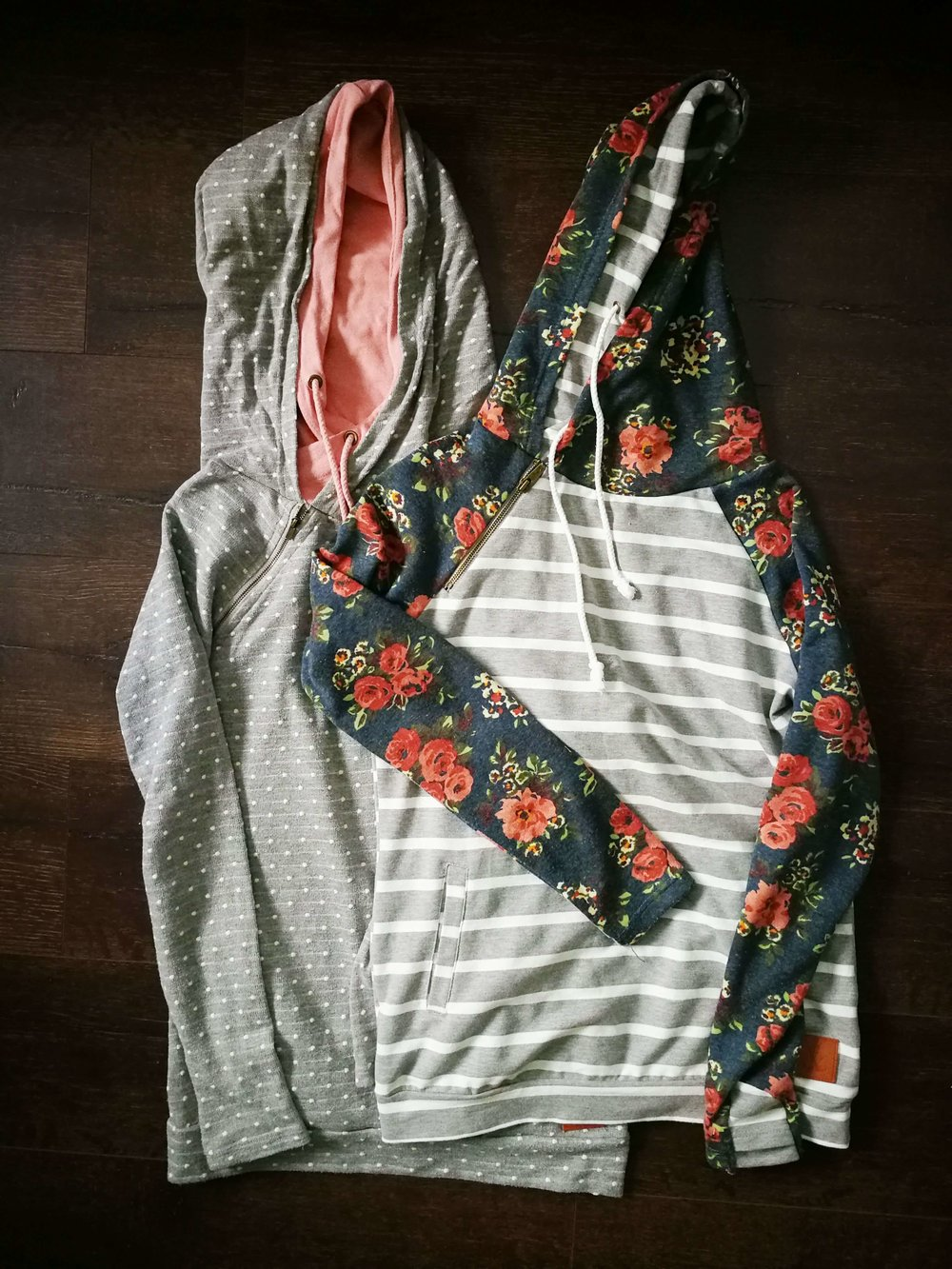 Polka Dot Pink and Blue Washed Floral Double hooded Sweatshirts by Mindy Mae's Market 2.jpg