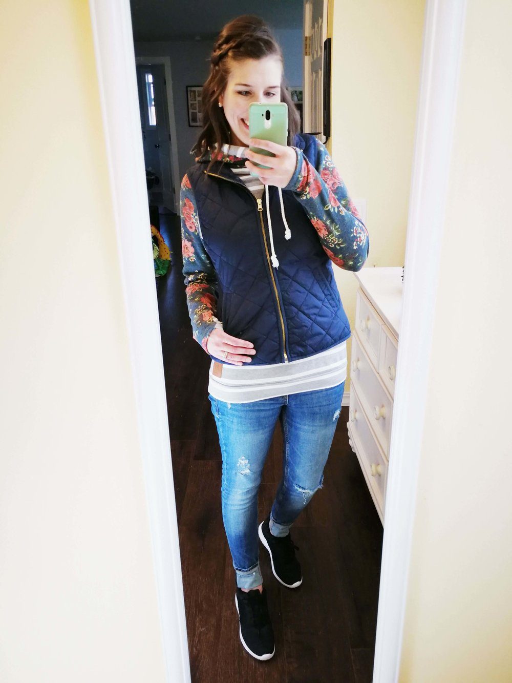 Winter comfy weekend outfit idea Jeans + Double Hooded Hoodie + Sneakers. Website is about casual simple stay at home mom fashion and outfit ideas (1).jpg