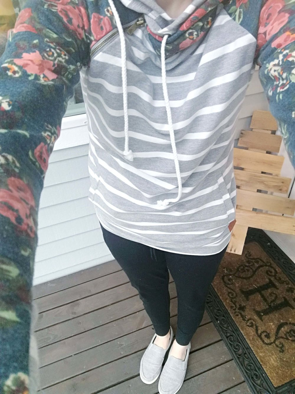 Winter comfy weekend or lazy day outfit idea Double Hooded Hoodie by Mindy Mae's Market shop + Athleta Joggers + Slip On Sneakers.jpg