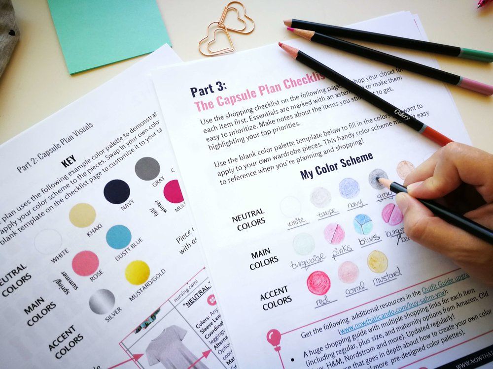 A Benefit of knowing your best colors? You can more easily plan a custom wardrobe color palette that will bring out the best based on your skin undertone, eyes and hair. Download the   SAHM capsule plan printable shown above  right here !