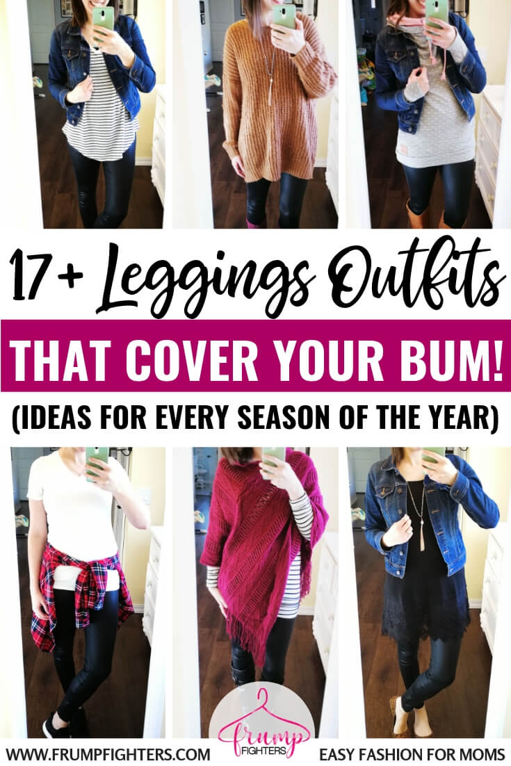 I'd only wear leather leggings if my butt is covered so these outfit ideas are perfect! If you're a mom looking for casual street style this fall and winter, learn these simple outfit tips for wearing leather leggings as pants the classy, chic way. So cute and modest! And the faux leather leggings she recommends are only $16! #leggings #fashion #outfits #tips #ideas #easy #clothes #style