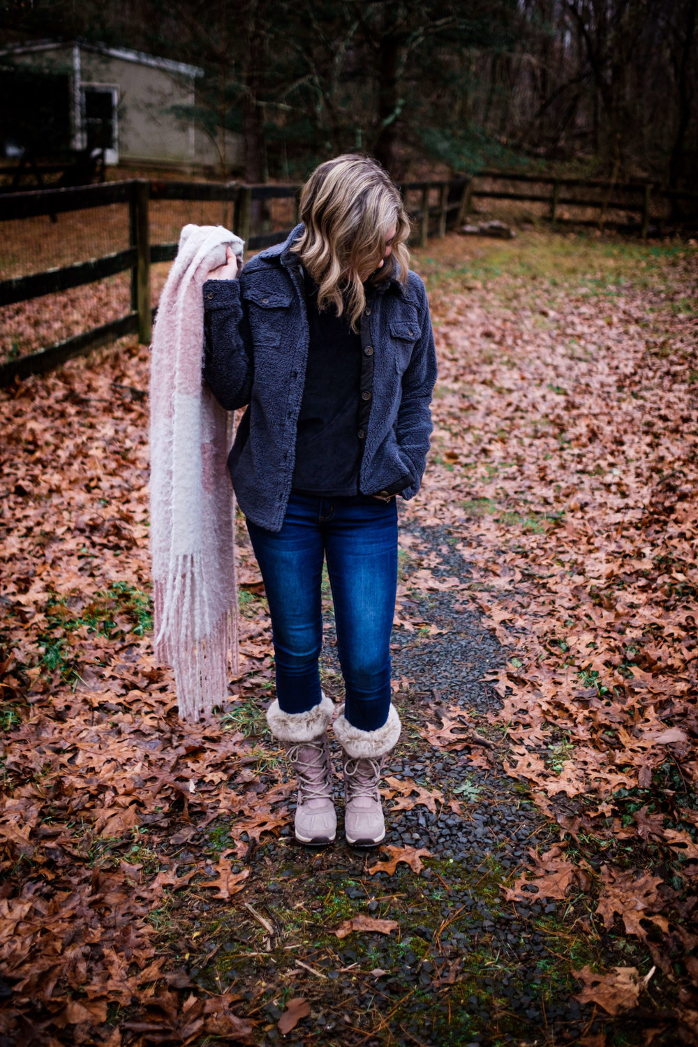 Warm winter outfit ideas for moms. Sweatshirt + Skinny Jeans + Jacket + Fur Lined Boots + Plush Scarf