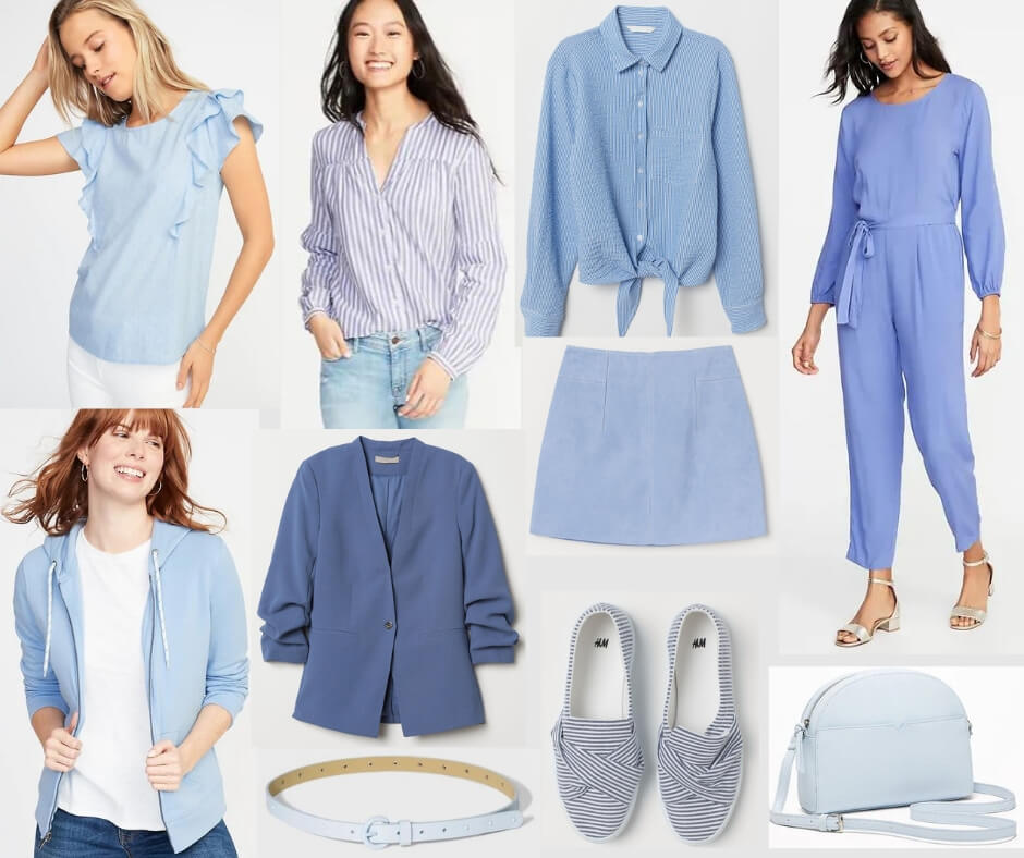 Fashion Forecast for Spring & Summer 2019 includes all shades of medium to light blue.  It's easy to include this trend in your closet for a chic, casual look. #style #trends #wardrobe #2019colors
