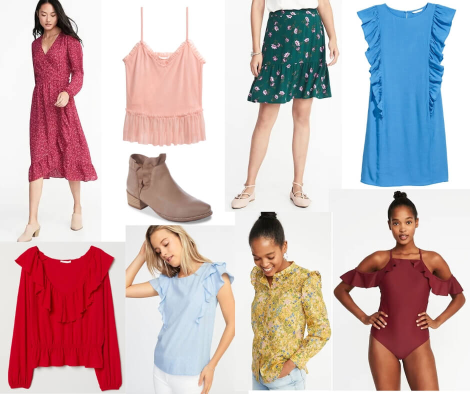 Fashion Forecast for Spring & Summer 2019 includes ruffles on all types of clothing.  It's easy to include this trend in your closet for a chic, casual or dressy look. #style #trends #wardrobe #2019