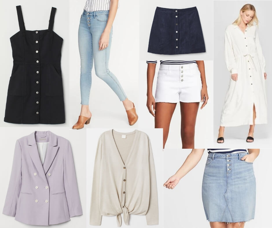 Fashion Forecast for Spring & Summer 2019 includes button front pants, skirts, and tops.  It's easy to include this trend in your closet for a chic, casual look. #style #trends #wardrobe #2019