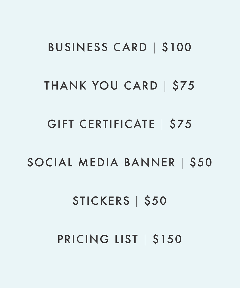 Pricing list for graphic design services from Mod Square Design.