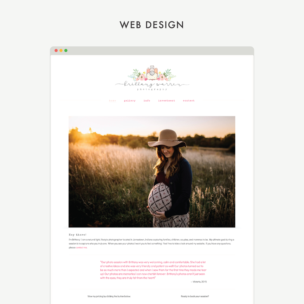 Squarespace designers Mod Square Design – project for Brittany Warren Photography