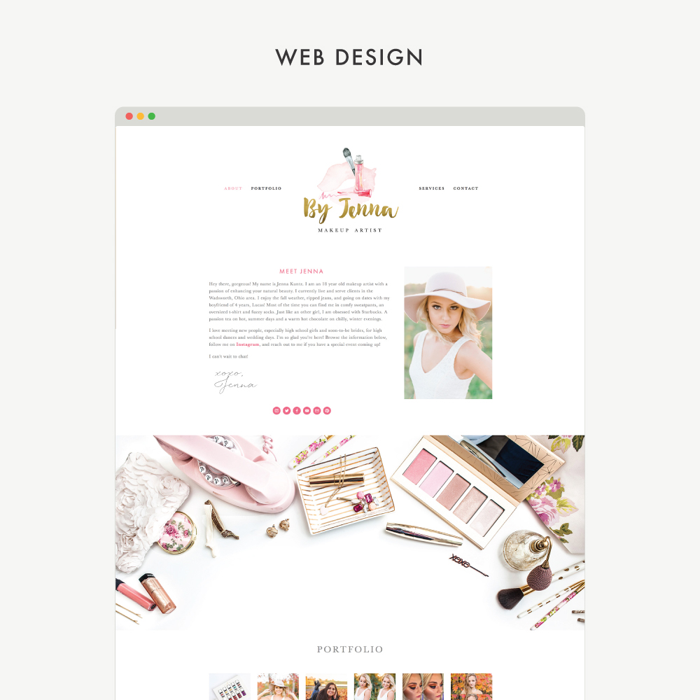 Custom Squarespace website design for Makeup By Jenna, crafted by Mod Square Design.