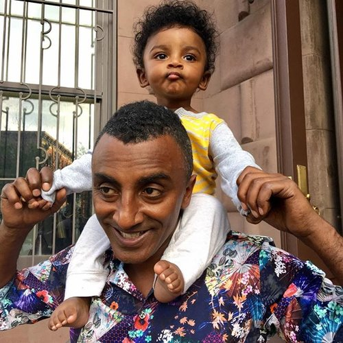 Chef Marcus Samuelsson with son