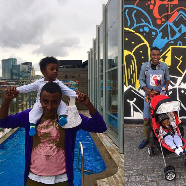 Chef Marcus Samuelsson with son at pool