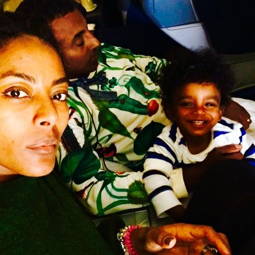 Chef Marcus Samuelsson with wife and son