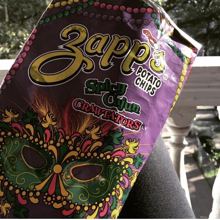 Zapp's  crawtators  (seasonal Mardi Gras packaging)