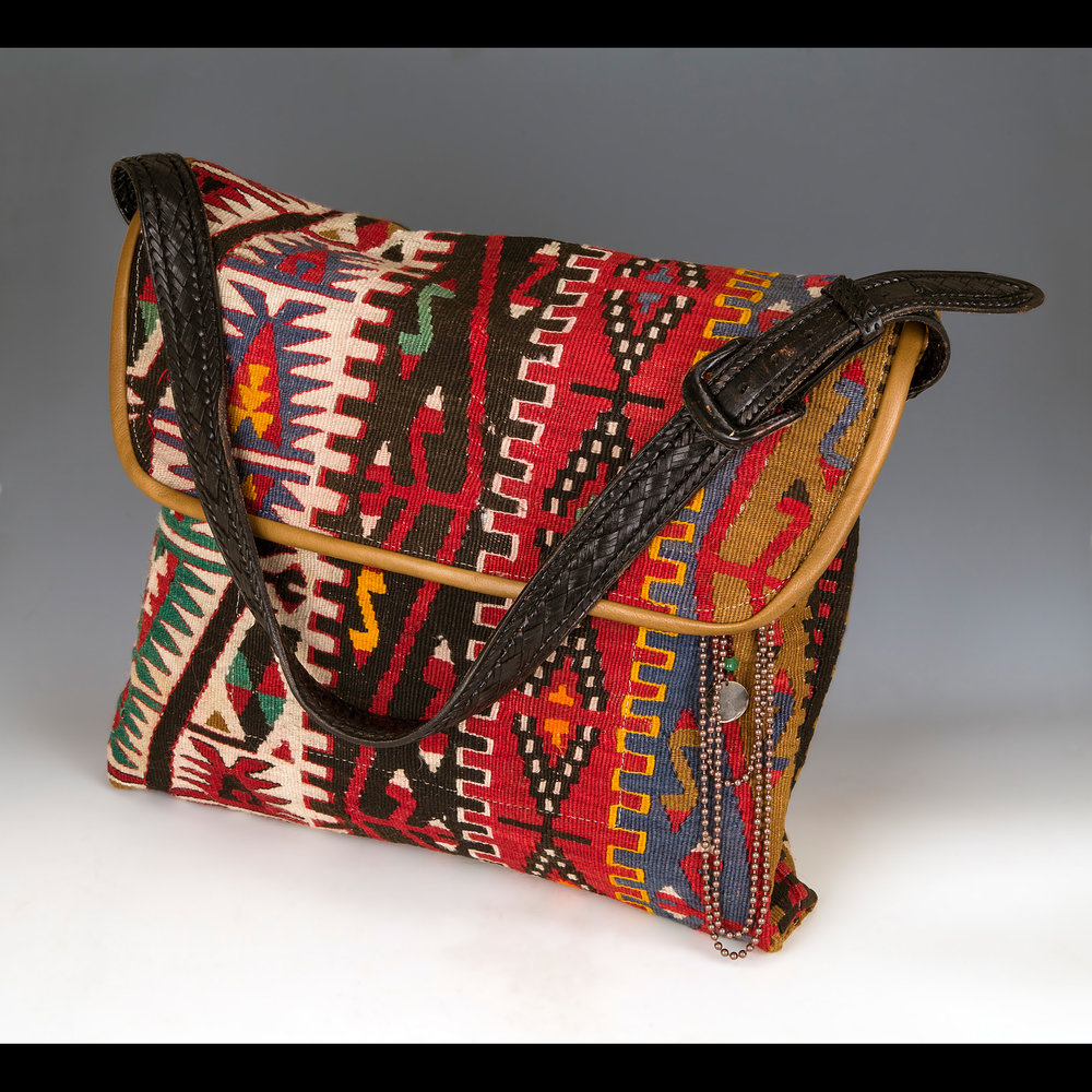 Large Overnighter bag made from Vintage Wool Kilim and leather.