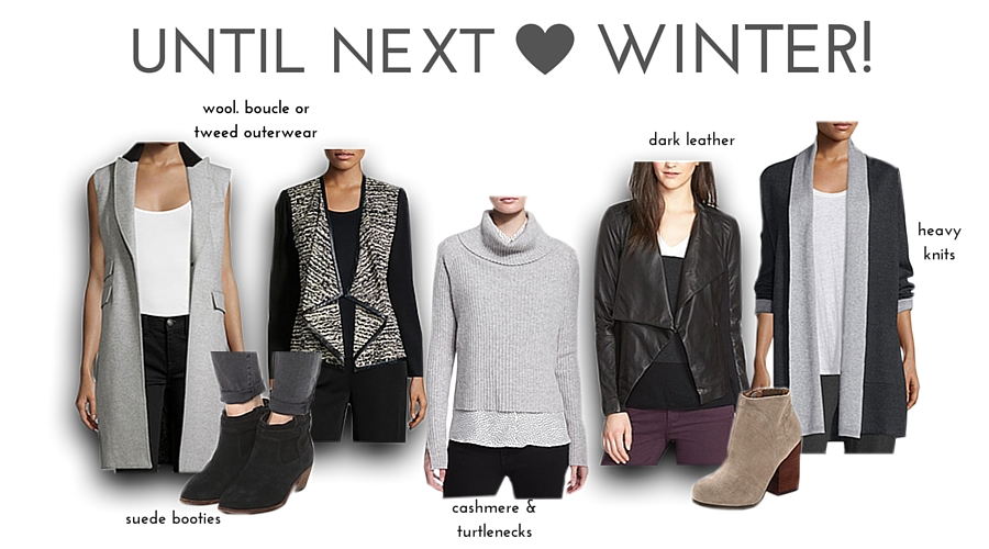 From L to R (on sale!): vest, black booties, jacket, turtleneck, leather jacket, gray booties, sweater