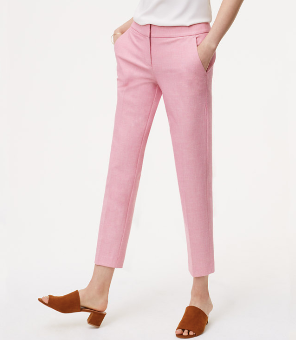 LOFT's steamlined cropped trouser in pretty pink