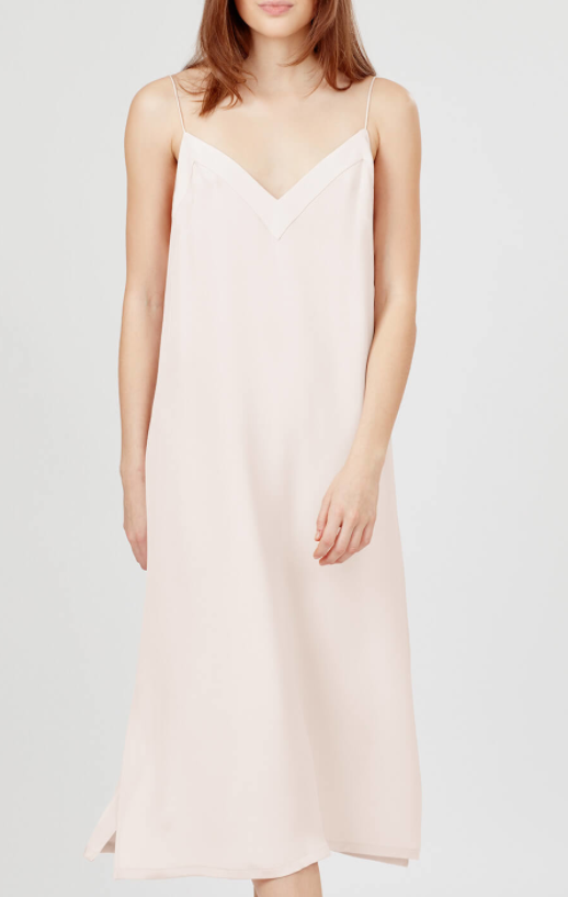 A classic slip dress in the lightest shade of blush. The back is really pretty.