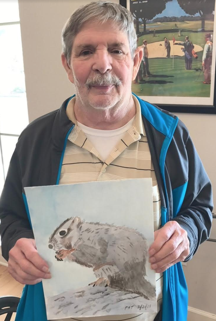 Mr. Pat proudly showing off his latest masterpiece- it is so amazing to see our residents developing new skills and capabilities!