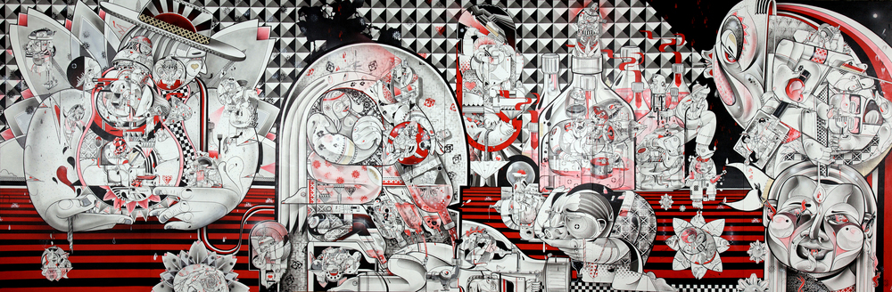 Live and Tell, 8ftx24ft,spray paint,india ink,cel vinyl,collage on canvas, 2011.jpg