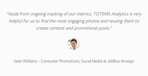 JetBlue was very pleased with Totems' work utilizing Instagram data to create #JetBlueSoFly