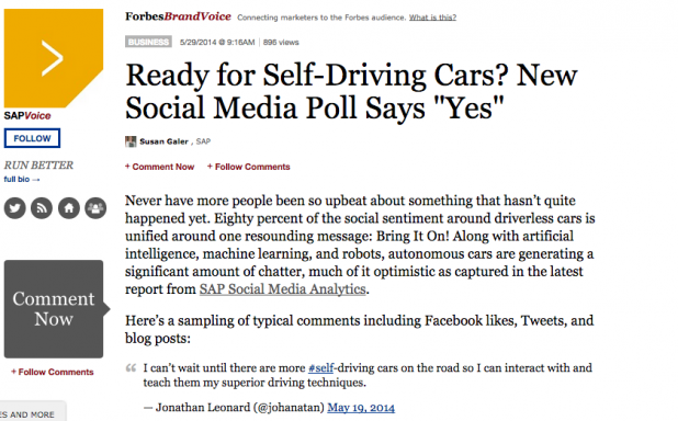 SAP turned their social media poll into a piece of native advertising on Forbes.com