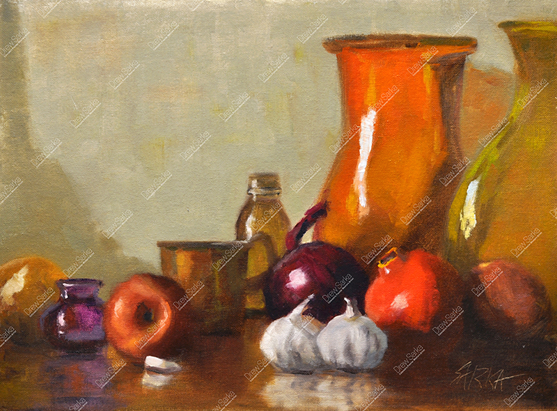 Still Life With Garlic, 12x16