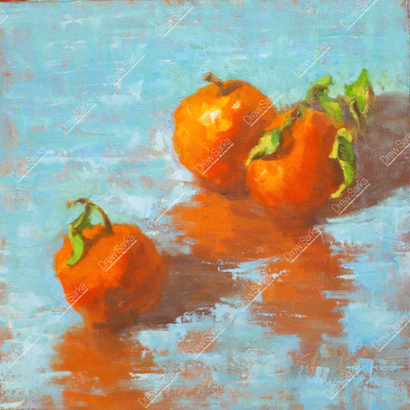 Three Oranges With Stems, 12x12